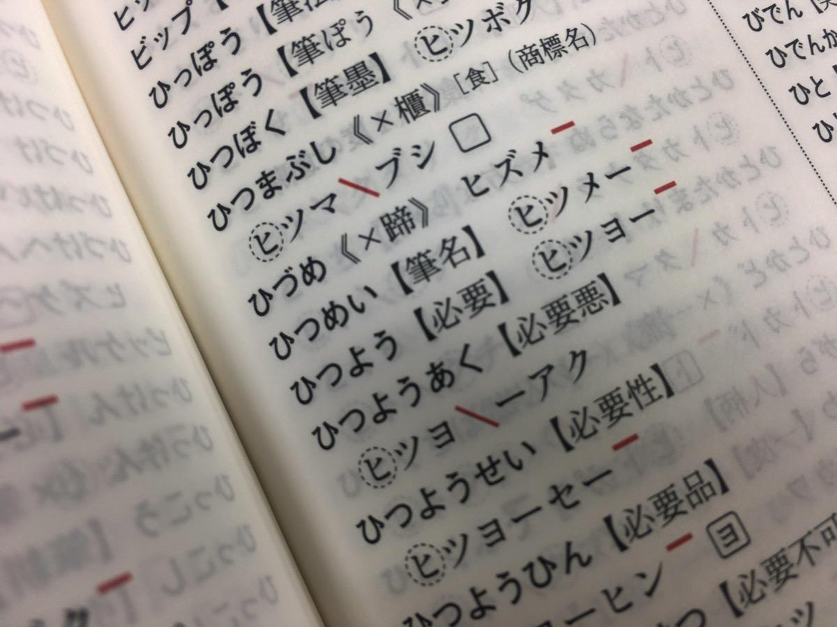 アクセント辞典の「ひつよう」の項目
