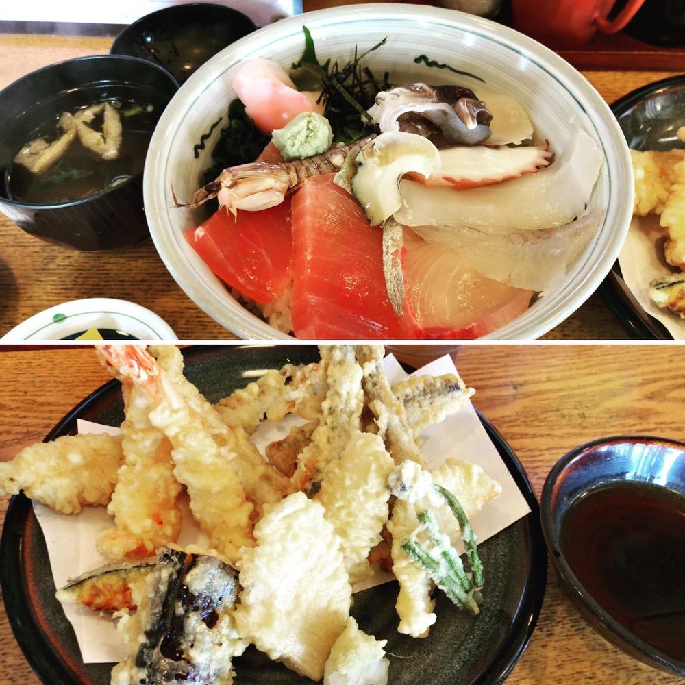 愛知県蒲郡市西浦「いちふく」の新鮮丼と天ぷら盛り合わせ